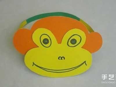 儿童手工动物纸帽 简单卡纸猴子?#32933;?#21046;作