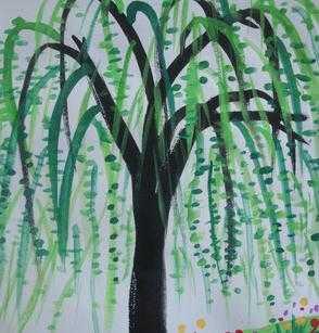垂柳儿童画 小班幼儿柳树绘画作品图片