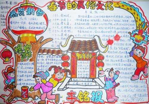 春节手抄报小学生_小学生马年春节小报 小学生新年手抄报图片